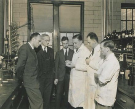 Researchers who accomplished the synthesis of vitamin B5: (from left) Randolph Major, Director of the Merck Research Laboratories; William H. Engels, Associate Director; Karl Folkers, Assistant Director; and chemists J. Finkelstein; J. C. Keresztesy; and E. T. Stiller. Courtesy Merck.